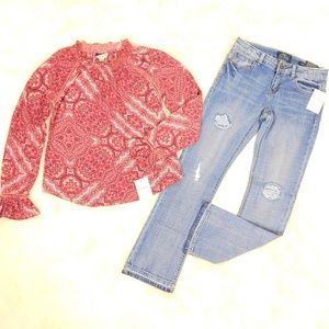 Lucky Brand Top BootCut Jeans Lot Girl Size 12 NWT